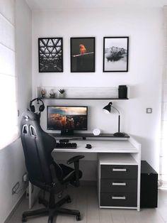 Bedroom Setup, Room Design Bedroom, Room Ideas Bedroom, Bedroom Decor, Gamer Bedroom, Gaming Room Setup, Desk Setup, Gaming Desk, Cool Gaming Setups