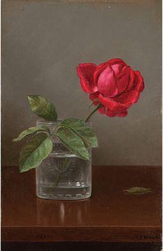 Мартин Джонсон Heade (11 августа, 1819 - 4 сентября 1904) - Роза в стакане, масло на панели, 30,5 х 20,8 см.