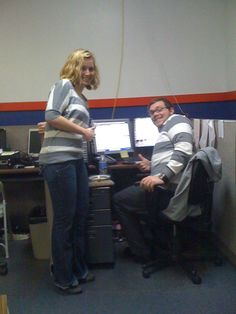 Matching outfits! KOLO Producer Kristen and Tim from Promotions wearing the gray and white stripes.