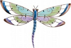 Purple #Dragonfly Wall Dicor.  Hand painted glass pieces complimented with irridescent metal finishes. #wallmount #gardendecor