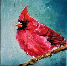 Original peinture à l'huile impressionniste Bird par ArtCornerShop