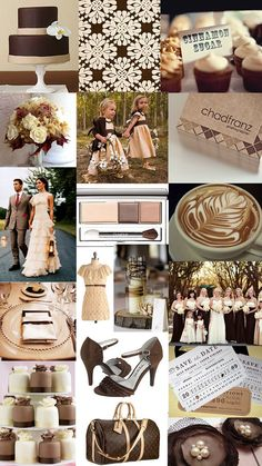 chocolate brown color scheme, wedding colorsI like this with off white wraps around their shoulders