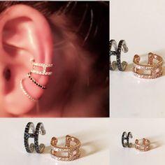 H ear cuff, H earrings , diamond ear cuff, black diamonds ear cuff, no pierceing helix, 14k gold ear cuff, no piercing ear cuff, helix, cuff