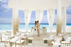 Love the all-white beach wedding