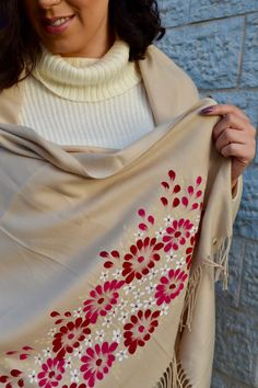 Very stylish hand painted super soft cashmere shawl . painted and designed by Jumana Salfiti. Fabric Colour Painting, Fabric Painting On Clothes, Dress Painting, Painted Clothes, Silk Painting, Embroidery Fashion, Vintage Embroidery, Embroidery Kits, Hand Painted Sarees