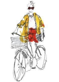 Anna Granat Fashion Illustration #fashion #illustration #fashionillustration #aquarelle #ink #art #annagranat #bike #bicycle