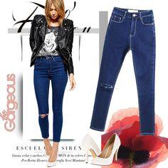 Dark Blue Jeans Pencil Pants Women Denim Pants Long Skinny Pants E133