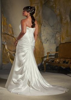 Back view.... Wedding Dress From Julietta By Mori Lee Style 3134 Diamante Beaded Embroidery On Soft Satin