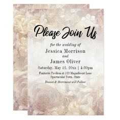 "Vintage Romantic Floral ""Please Join Us"" Wedding Card - antique wedding gifts  special custom party"