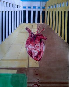 Heart by Ivaylo Mitev - - I have no explanation about this one. It was the first time I drew with tempera. I was thinking about some of the paintings of Magritte and wanted to add some architecture. Magritte, Tempera, Surrealism, First Time, Heart Art, Loneliness, Drawings, Blood, Pastel