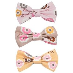 via cacao Hair Bow Petite Retro Set, Pink, Brown and Yellow ** To view further for this item, visit the image link.