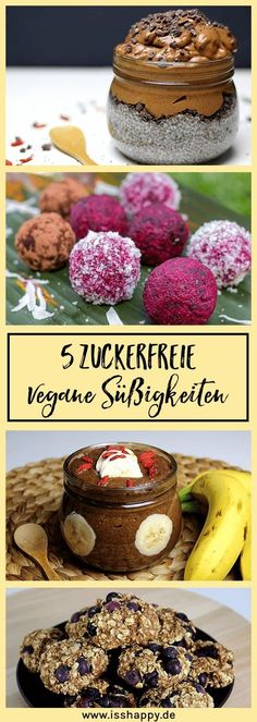 Vegan chocolate pudding with chia- Veganer Schokopudding mit Chia 5 sugar-free vegan sweets. Suitable for one # Food intolerance or # Food intolerance how - Healthy Vegan Snacks, Vegan Sweets, Vegan Desserts, Vegan Recipes, Dessert Recipes, Healthy Protein, Healthy Sweets, Vegan Food, Sugar Free Sweets