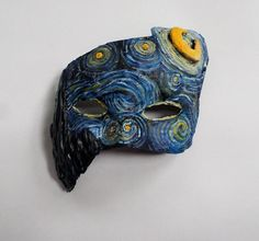 Starry Night Mask painting Van Gough unique mask paper mache mask half mask by ArtisanMasks on Etsy Paper Mache Mask, Paper Mache Sculpture, Paper Mache Crafts, Lion Sculpture, Sculpture Ideas, Gifts For Art Lovers, Lovers Art, Van Gogh, Painted Vans