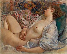 Zinaida Serebriakova (1884-1967)  Sleeping Nude (Katya)