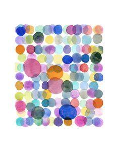 Colored Dots Watercolor Painting - Minimal Abstract painting - Circles Splash Modern Wall Art