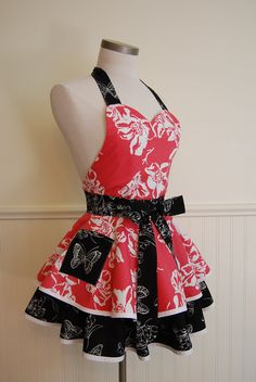 Coral Flowers and Black Butterflies Full 2 Tier Circle Skirt Apron with Sweetheart Neckline and Pocket. via Etsy.