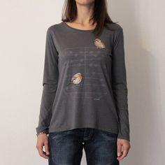 """Magliette a manica lunga - T-SHIRT MANICA LUNGA STAMPA """"ALBERO"""" - ANTRACITE - un prodotto unico di Tyche-abbigliamento su DaWanda"""
