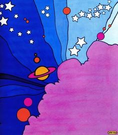 """Peter Max illustration from """"The Peter Max Land of Blue"""" Book, Psychedelic Art, Peter Max Art, Illustrator, 60s Art, Retro Art, Posca Art, Trippy Painting, Hippie Art, Arte Pop"""