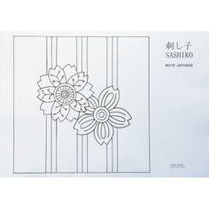 Motif sakura et rayures. Chaque motif est présenté à la bonne échelle pour faire le sashiko, prêt à être transféré à l'aide du papier carbone.