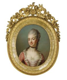"""""""JAKOB BJÖRCK efter en pastell av Gustaf Lundberg  1726-1793  Porträtt föreställande friherrinnan Ulrika Eleonora von Höpken i rosa klänning- bröstbild  Olja på dubblerad duk, oval, 65 x 53 cm.  Förgylld gustaviansk ram med krönande bandrosett, ekkvist och blomstergirland.  Friherrinnan Ulrika Eleonora """"Ulla"""" von Höpken, född grevinna von Fersen (1749-1780) var statsfru hos drottning Sofia Magdalena och en av de """"tre gracerna"""" vid Gustav III:s hov."""""""
