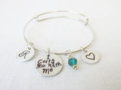 """Personalized """"I Carry You With Me"""" Alex and Ani Style Adjustable Bangle Bracelet,  Hand Stamped Monogram Inital and Birthstone Bangle by Foreverafterbeading on Etsy"""