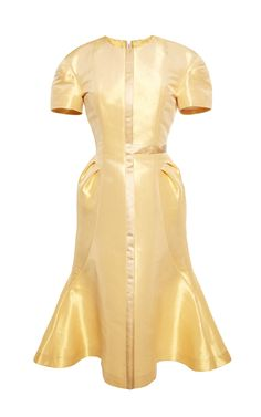 Half Cross Flared Dress With Tucks In Gold Lame by Thom Browne - Moda Operandi