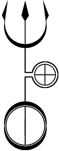 Hekate's Trident, Vector by Alchemy-stock http://alchemy-stock.deviantart.com/art/Hekate-s-Trident-Vector-102719719 This is a chimeric symbol, merging the planetary symbols for Uranus (Sky), Neptune (Sea) and Terra (Earth).