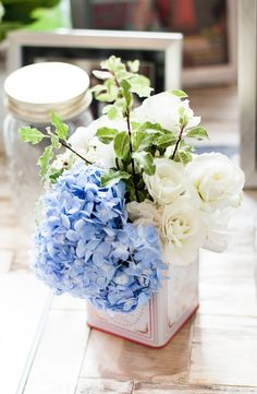 flower arrangement - blue & white