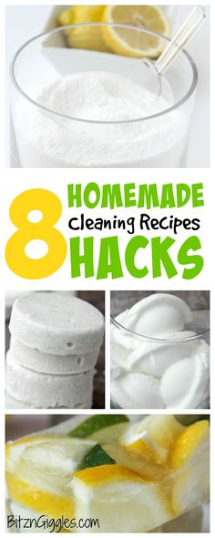 8 Homemade Hacks: Cleaning Recipes - From dishwasher detergent and stainless steel appliance cleaner to toilet freshening and garbage disposal tabs, these are all things you can now make at home and save money doing it!