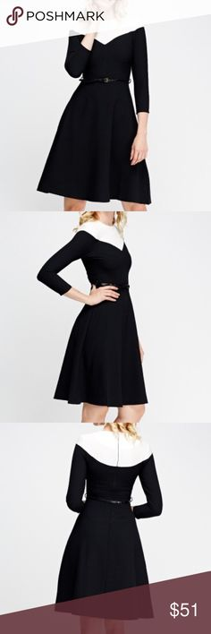 """Wear to work Black & White Sleeve dress 100% Polyester. Length: 39"""" Collection Dresses Midi"""