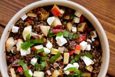 Krydret linsesalat med æbler, dadler og feta   Anna-Mad blog