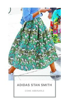 Idee, abbinamenti, foto Adidas Stan Smith, Victoria Beckham, Midi Skirt, Sneakers, Skirts, Clothing, Fashion, Tennis, Moda