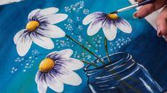 Белые цветы в стеклянной банке - Рисование акрилом / Homemade Illustrati...