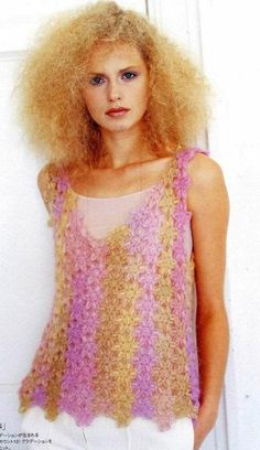 Yellow and pink top made from little flowers with diagram
