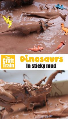 Get messy in Dinosaurs in mud sensory play. This gooey chocolate-scented mud puddle within a dinosaur small world will keep preschoolers busy and engaged in imaginary play for hours. Dinosaur Small World, Small World Play, Dinosaur Activities, Sensory Activities, Creative Activities For Kids, Easy Crafts For Kids, Sensory Bins, Sensory Play, Dinosaur Display