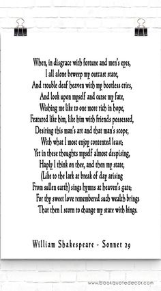 shakespeare sonnet i love the last few lines especially i  my favourite poem sonnet 29 william shahespear