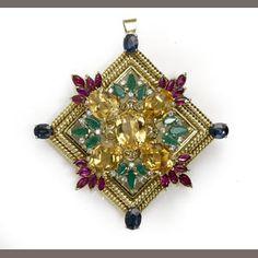 A diamond and gem-set pendant-brooch
