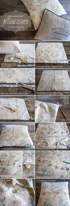 Easy DIY Envelope Pillow Covers with step by step picture tutorial(Cojines Diy Ideas) Sewing Hacks, Sewing Tutorials, Sewing Crafts, Sewing Projects, Sewing Patterns, Tutorial Sewing, Quilting Tutorials, Sewing Diy, Quilting Ideas
