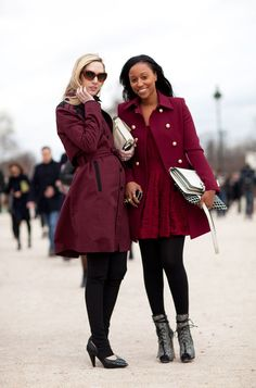 Paris Fashion Week - Street Style Fall 2012 - Harper's BAZAAR. Love the coat with the gold buttons.
