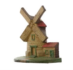 Vintage Cast Iron Doorstop Windmill Cape Cod Wind Mill Door Stop 1930s Original Paint Bookend Shelf Display Decor  Rustic Cottage Shabby