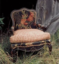 French Country, Rooster Chair…very cute. Love this chair. French Country, Rooster Chair…very cute. Love this chair. Style Cottage, French Country Cottage, French Country Style, French Country Fabric, Country Farmhouse, French Decor, French Country Decorating, Muebles Shabby Chic, Rooster Decor