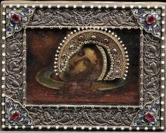 Russian Icon of John the Baptist's Head on a Platter, Moscow, marked for Ovchinnikov, late 19th/early 20th century