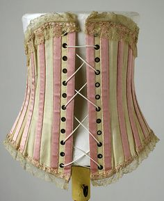 Corset with contrasting color bone casings. Date: 1900–1905 Culture: American Medium: cotton, silk, steel
