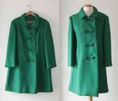 1960s Kelly green double breasted wool pea coat by School of Vintage