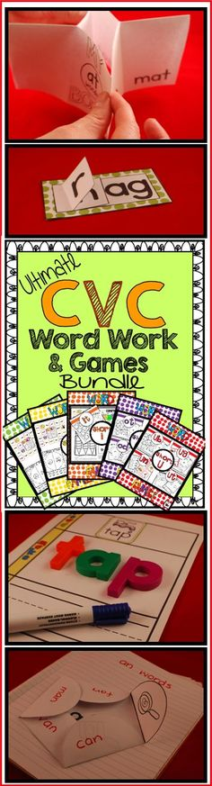 CVC practice: Over 600 pages of literacy centers and word work activities. Covers 26 word families. ($)