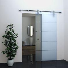 Glas Schiebetür STRIPES in 77,5 x 205 cm