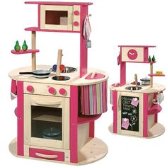 Modern Wooden Play Kitchen big modern deluxe wooden toy play kitchen howa http://www.amazon