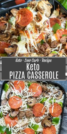 Keto Pizza Casserole is an easy keto dinner recipe made with all of your favorite pizza toppings, pepperoni, green peppers, sausage, mushrooms, and lots of mozzarella cheese. It's a low carb pizza casserole with no pasta! An easy low carb recipe for family dinners. #lowcarbdiet #ketodiet #keto #lowcarb #ketorecipes #pizza #casserole #homemadeinterest Pizza Casserole, Easy Casserole Recipes, Easy Dinner Recipes, Banting Recipes, Diet Recipes, Cooking Recipes, Low Carb Pizza, Low Carb Keto, Low Car Recipes