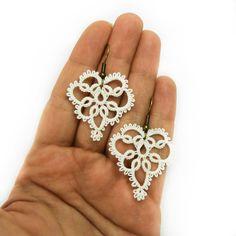Filigree earrings off white lace earrings lace jewelry. £16.00, via Etsy.