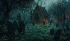 Michael Komarck Fantasy and Science Fiction Illustration работ) Fantasy World, Dark Fantasy, Fantasy Art, Fantasy Story, Halloween Graveyard, Old Cemeteries, Graveyards, Call Of Cthulhu, World Of Darkness